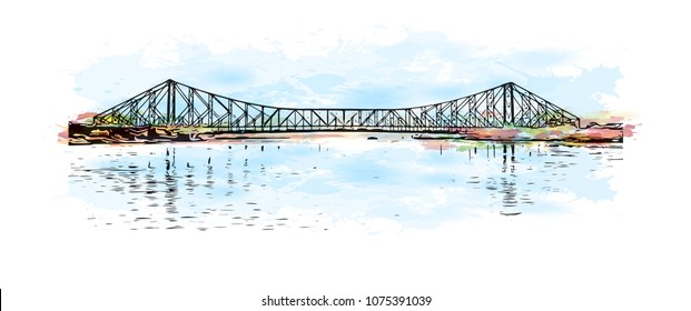 Howrah Bridge of Kolkata, City in West Bengal. Watercolour splash with hand drawn sketch illustration in vector.