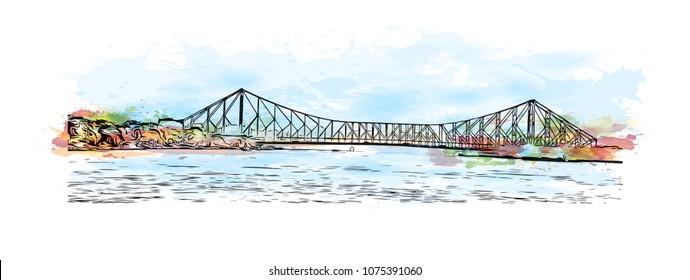 Howrah Bridge of Kolkata, City in West Bengal. Watercolour splash with hand drawn sketch illustration in vector.