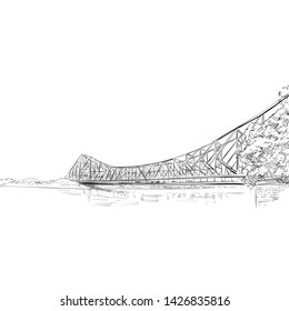 Howrah Bridge. West bengal. India. Hand drawn vector illustration.