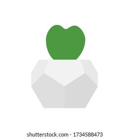 Hoya kerrii in geometric flower pot. Vector illustration of trendy heart shape succulent plant in concrete white planter. Isolated on a white background