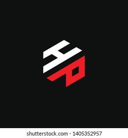 HP or H P letter alphabet logo design in vector format.