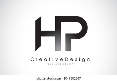 HP H P Letter Logo Design in Black Colors. Creative Modern Letters Vector Icon Logo Illustration.