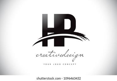 HP H P Letter Logo Design with Swoosh and Black Brush Stroke. Modern Creative Brush Stroke Letters Vector Logo