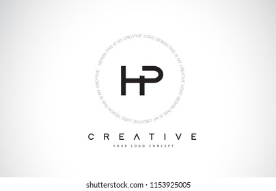 HP H P Logo Design with Black and White Creative Icon Text Letter Vector.