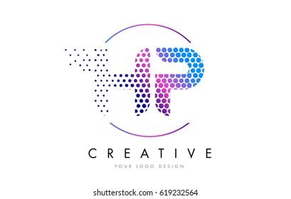 HP H P Pink Magenta Dotted Bubble Letter Logo Design. Dots Lettering Vector Illustration