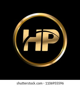 HP initial circle company logo gold black background