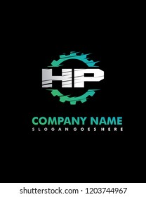 HP Initial with gear template vector