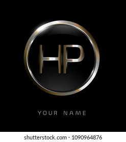 HP initial letters with circle elegant logo golden silver black background