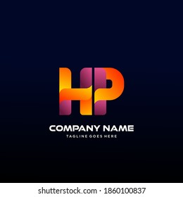 HP Letter initial Logo Vector With colorful, logo for media business