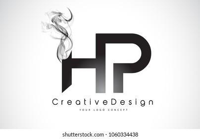 HP Letter Logo Design with Black Smoke. Creative Modern Smoke Letters Vector Icon Logo Illustration.