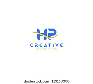 HP letter with swoosh vector logo design