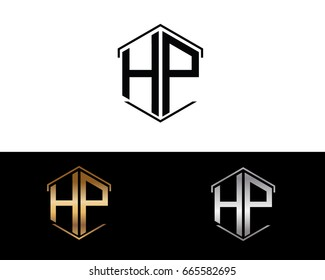 hp letters linked with hexagon shape logo