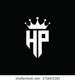 HP logo monogram emblem style with crown shape design template