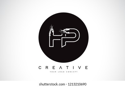 HP Modern Leter Logo Design with Black and White Monogram. Creative Letter Logo Brush Monogram Vector Design.