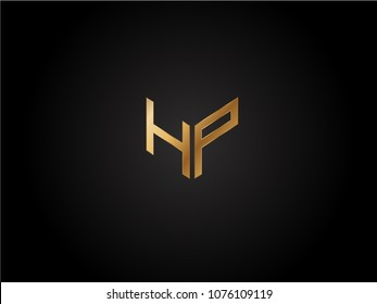 HP square shape Letter logo Design in silver gold color