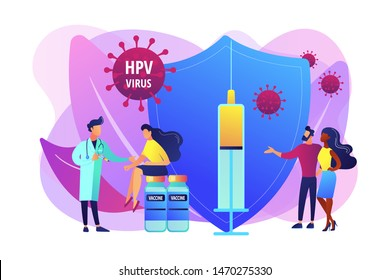 HPV infection medication. Virus prevention. HPV vaccination, protecting against cervical cancer, human papillomavirus vaccination program concept. Bright vibrant violet vector isolated illustration