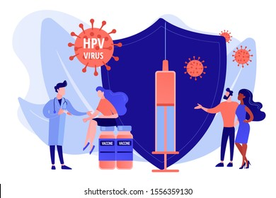 HPV infection medication. Virus prevention. HPV vaccination, protecting against cervical cancer, human papillomavirus vaccination program concept. Pinkish coral bluevector vector isolated illustration