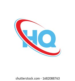 HQ H Q letter logo design. Initial letter HQ linked circle upercase monogram logo red and blue. HQ logo, H Q design