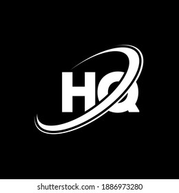 HQ H Q letter logo design. Initial letter HQ linked circle uppercase monogram logo white. HQ logo, H Q design. hq, h q