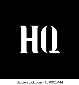 HQ H Q letter logo design. Initial letter HQ uppercase monogram logo white color. HQ logo, H Q design. HQ, H Q