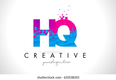HQ H Q Letter Logo with Broken Shattered Blue Pink Triangles Texture Design Vector Illustration.