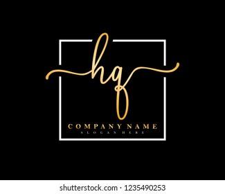HQ Initial handwriting square minimalist logo vector