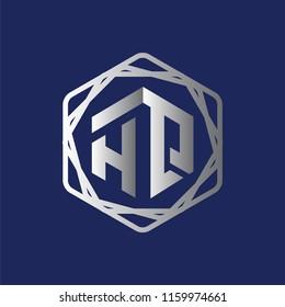 HQ Initial letter hexagonal logo vector
