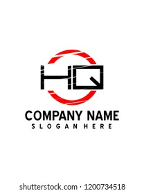HQ Initial logo with circle template vector