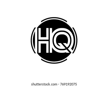 HQ letter logo round black