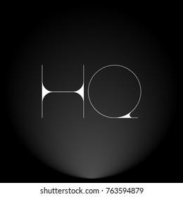 HQ White thin minimalist LOGO Design with Highlight on Black Background.