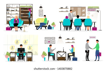 HR agency workers flat vector characters set. Headhunters selecting candidates. Job search, employment service. Studying resumes, interviewing applicants, jobseekers. Hiring, recruiting new personnel