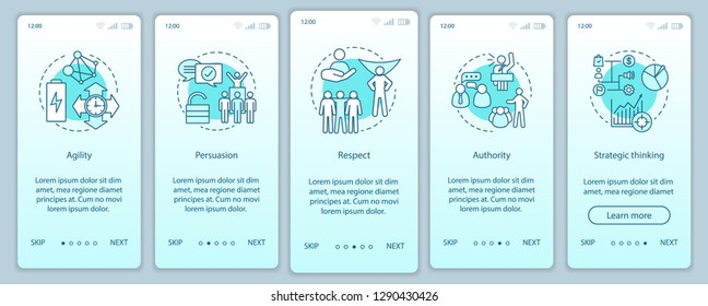 HR baseline skills onboarding mobile app page screen vector template. Employee soft qualities, abilities. Respect, authority, persuasion walkthrough website steps. UX, UI, GUI smartphone interface