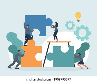 HR concept. Employee engagement and work motivation. Staff professionalism and inspiration. Common goals of the company and employees. Flat cartoon vector illustration with fictional characters