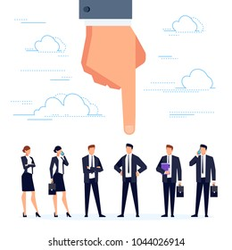 HR concept. The man's hand points to the candidate. Job search and selection of candidates for vacancies, template design poster, banner. Businessmen in a flat style. Vector illustration.