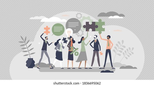 HR employee engagement with work motivation for loyalty tiny person concept. Professional labor inspiration and assessment with company appreciation and satisfaction ir workplace vector illustration.
