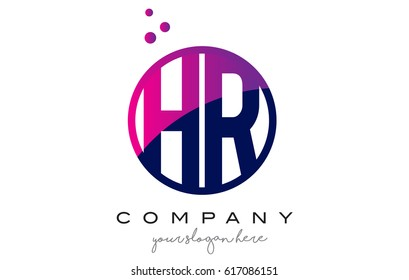 HR H R Circle Letter Logo Design with Purple Magenta Dots Bubbles Vector Illustration