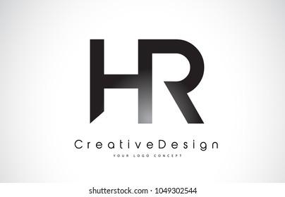 HR H R Letter Logo Design in Black Colors. Creative Modern Letters Vector Icon Logo Illustration.