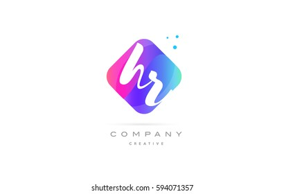 hr h r  pink blue rhombus abstract 3d alphabet company letter text logo hand writting written design vector icon template