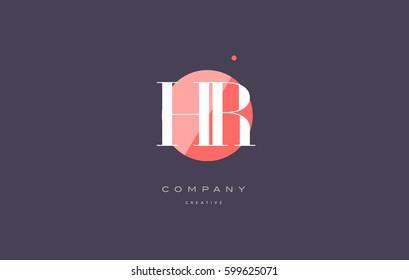 hr h r  retro vintage simple rhombus three 3 letter combination black white alphabet company logo line design vector icon template