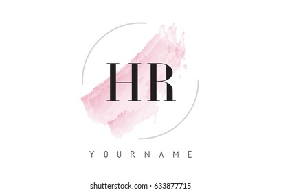 HR H R Watercolor Letter Logo Design with Circular Shape and Pastel Pink Brush.