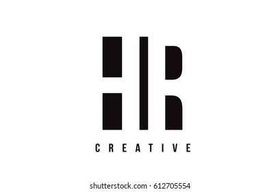 HR H R White Letter Logo Design with Black Square Vector Illustration Template.