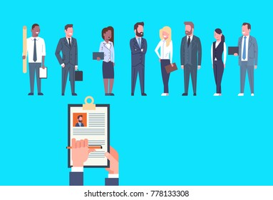 Hr Hand Hold Cv Resume Of Businessman Over Group Of Business People Choose Candidate For Vacancy Job Position, Recruitment Concept Flat Vector Illustration