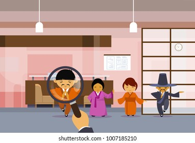 Hr Hand Hold Magnifying Glass Choosing Businessman Over Group Of Chinese Business People In Traditional Clothes Pick Candidate For Vacancy Position, Human Resources Concept Flat Vector Illustration