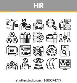 Hr Human Resources Collection Icons Set Vector. Hr Management And Research, Strategy And Interview, Brainstorm And Disscusion Concept Linear Pictograms. Monochrome Contour Illustrations