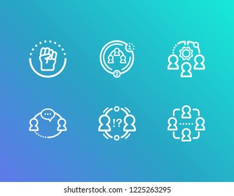 Hr icon set and cohesion with interaction, collaboration strategy and conflict management. Work group related hr icon vector for web UI logo design.