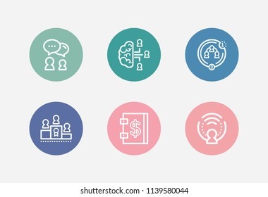 Hr icon set and collaboration strategy with collective leadership, team intelligence and payroll. Conversation related hr icon vector for web UI logo design.