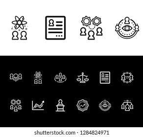 Hr icon set and conflict management with employment contract, team abilities and team success. Chemistry related hr icon vector for web UI logo design.