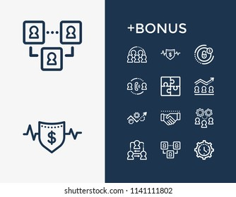 Hr icon set and coordinate relationship with cooperation, negotiation and development plan. Handshake related hr icon vector for web UI logo design.