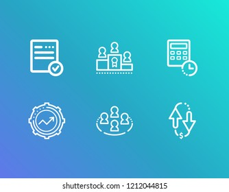 Hr icon set and kpi with record keeping, conference and collective leadership. Document related hr icon vector for web UI logo design.