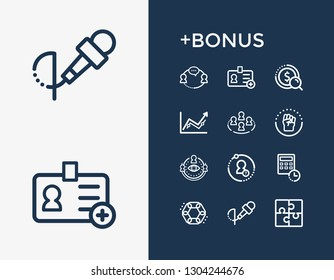 Hr icon set and team success with cohesion, job search and unity. Achievement related hr icon vector for web UI logo design.